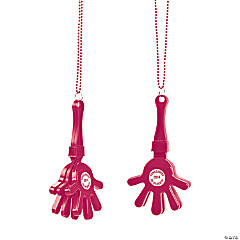 Burgundy Personalized Hand Clapper Beaded Necklaces