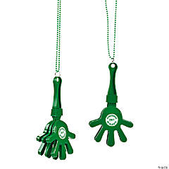 Personalized Green Hand Clapper Beaded Necklaces