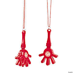 Personalized Red Hand Clapper Beaded Necklaces