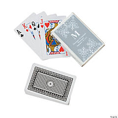 Silver Personalized Monogram Wedding Playing Cards