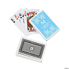 Light Blue Monogram Wedding Personalized Playing Cards