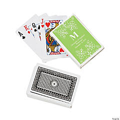 Lime Green Monogram Wedding Personalized Playing Cards