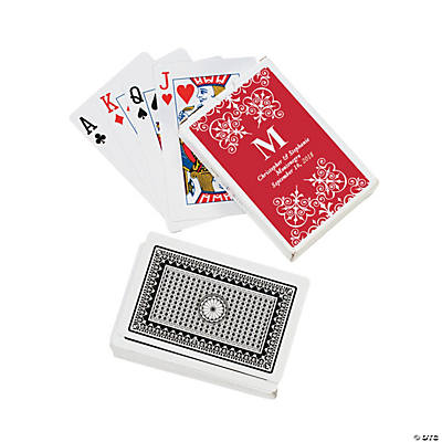 Red Monogram Wedding Personalized Playing Cards