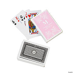 Light Pink Monogram Wedding Personalized Playing Cards