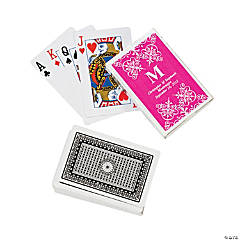 Hot Pink Monogram Wedding Personalized Playing Cards