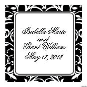 Personalized Black & White Wedding Favor Stickers