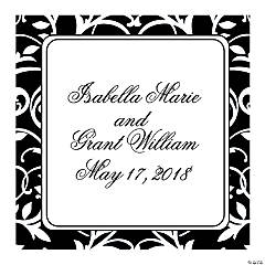 Personalized Black And White Wedding Favor Stickers