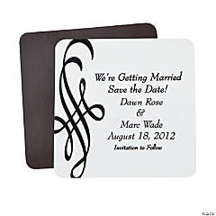 "Personalized Black Flourish ""Save The Date"" Wedding Magnets"