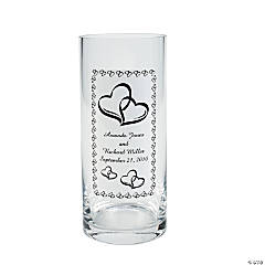 Personalized Two Hearts Wedding Glass Cling
