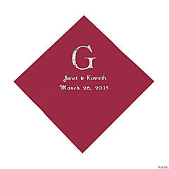 Personalized Wedding Monogram Luncheon Napkins - Burgundy