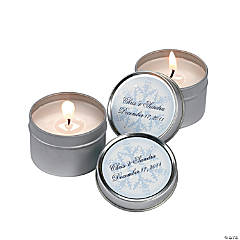 Personalized Winter Wedding Candle Tins