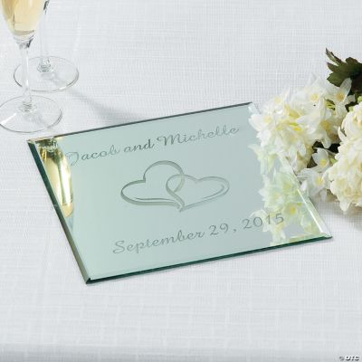 Personalized Two Hearts Square Table Mirror