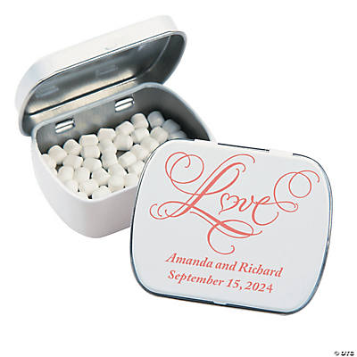 "Personalized ""Love"" Wedding Tins with Mints"