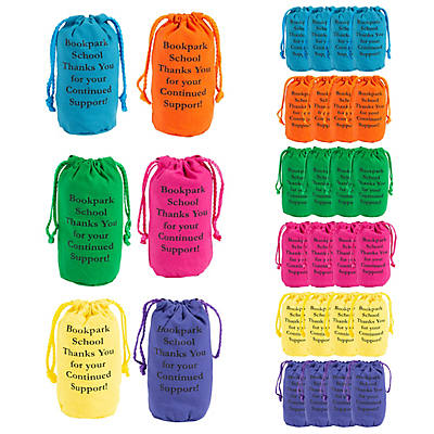 Personalized Bright Neon Canvas Drawstring Bags
