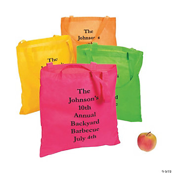 Personalized Large Nonwoven Neon Color Tote Bags