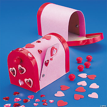 Cardboard valentine mailbox craft kit oriental trading