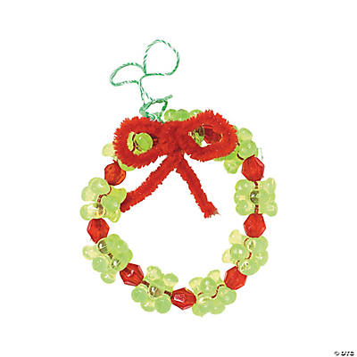 Beaded Wreath Christmas Ornament Craft Kit