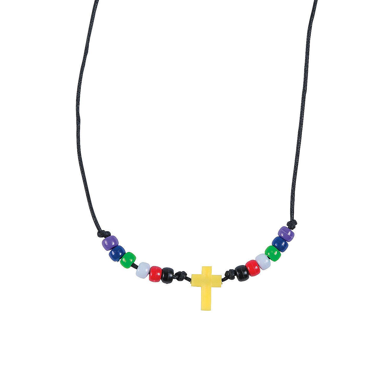 faith beaded cross necklace craft kit trading