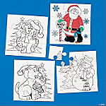 Color Your Own Christmas Puzzles