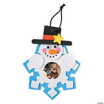 Foam snowman amp snowflake picture frame christmas ornament craft kit