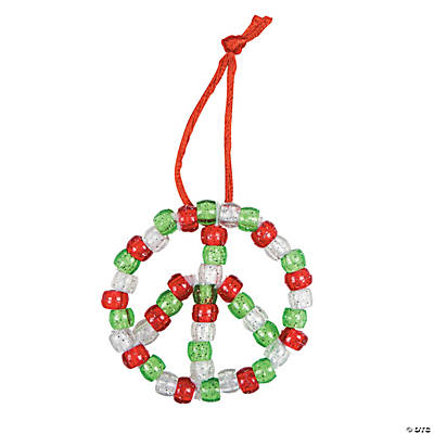 Beaded Peace Sign Christmas Ornament Craft Kit