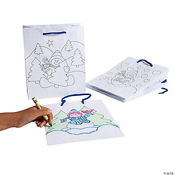 Paper Color Your Own Snowman Gift Bags