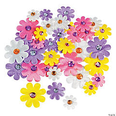 Fabric Self-Adhesive Daisies with Jewel Center