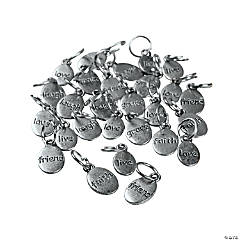 Silvertone Metal Nugget Word Charms