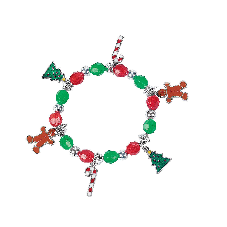 beaded holiday charm bracelet craft kit oriental trading