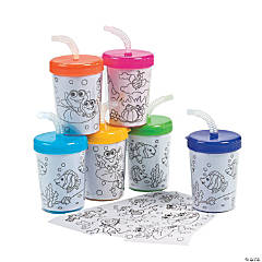 Color Your Own Cups With Lids & Straws