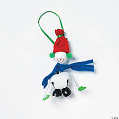 Metal Jingle Bell & Wooden Snowman Ornament Craft Kit