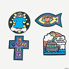 Color Your Own Religious Fuzzy Magnets