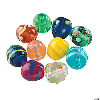 Glass Easter Egg Beads - 1/2""
