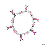 Beaded Pink Ribbon Charm Bracelet Craft Kit