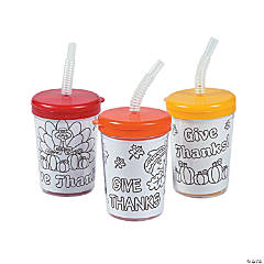 "Color Your Own ""Give Thanks"" Cups with Lids & Straws"