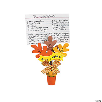 "Wooden Flowerpot ""Give Thanks!"" Recipe Holder Craft Kit"