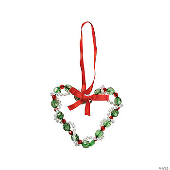 Beaded Christmas Heart Ornament Craft Kit