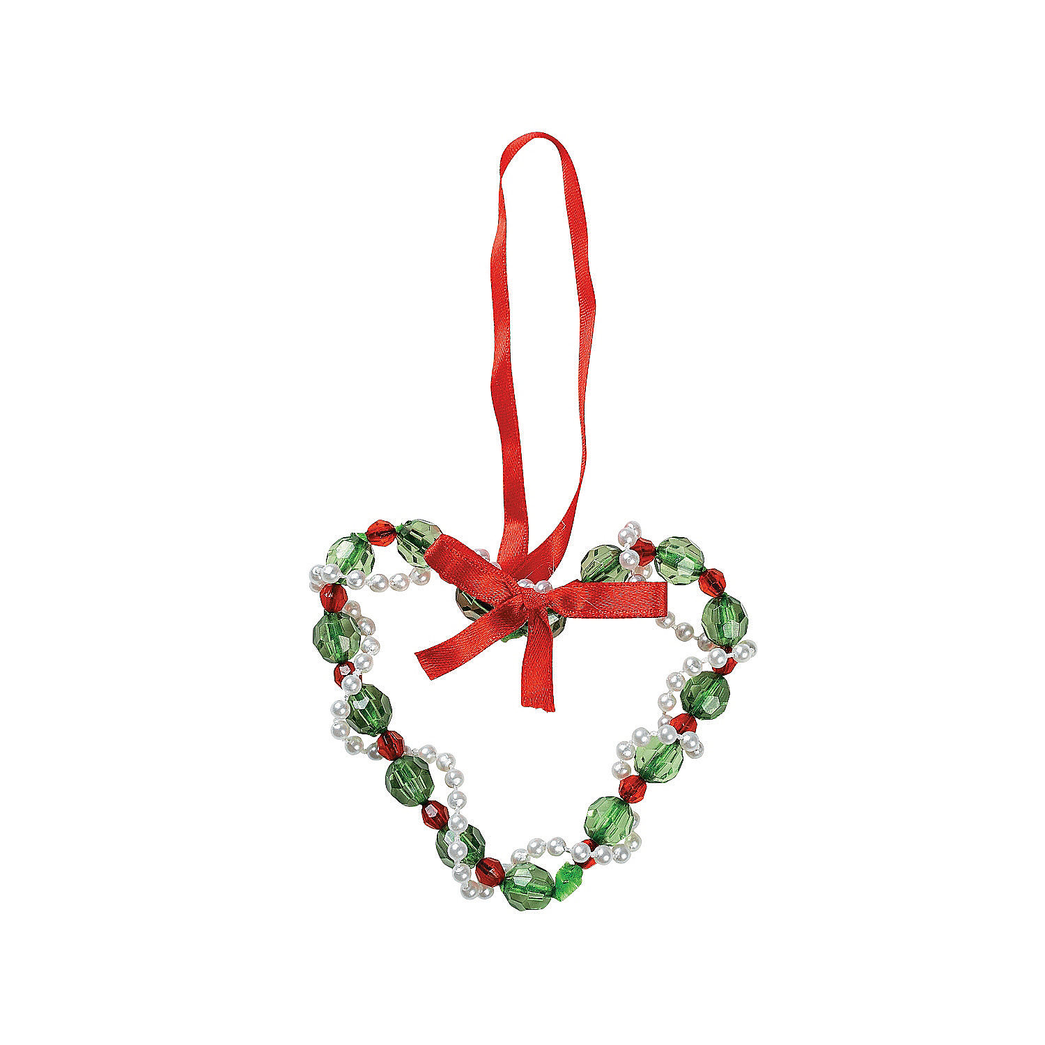 beaded heart christmas ornament craft kit oriental trading