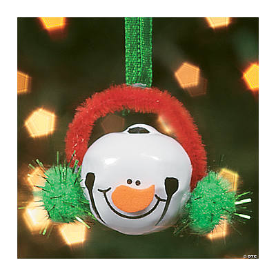 Jingle bell snowman ornament craft kit oriental trading for Jingle bell christmas ornament crafts
