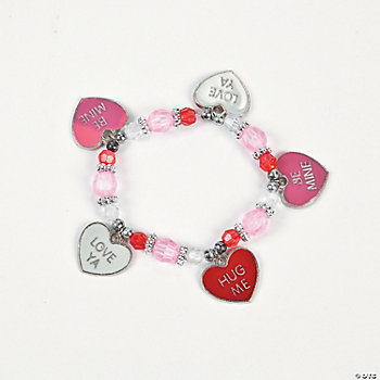 Beaded Conversation Heart Charm Bracelet Craft Kit