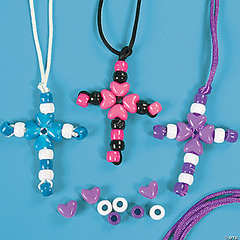 Beaded cross necklace craft kit oriental trading for Bead craft ideas for kids