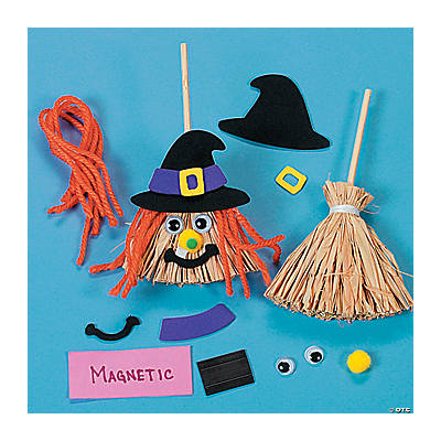 Foam straw mini broom witch magnet craft kit oriental for Straw brooms for crafts