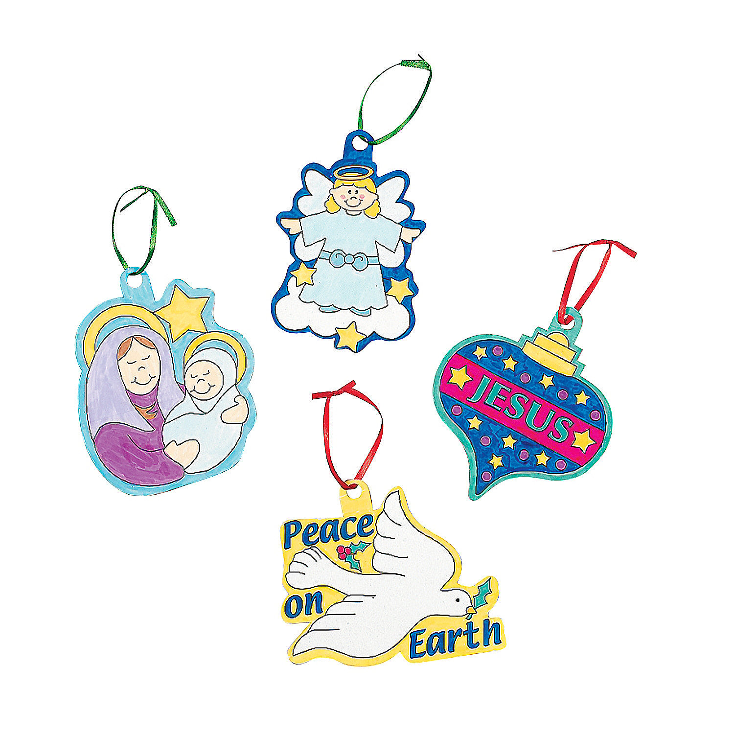Color Your Own Religious Christmas Ornaments: Color Your Own Religious Ornaments
