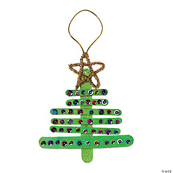Craft Stick Christmas Tree Ornament Craft Kit - Oriental Trading