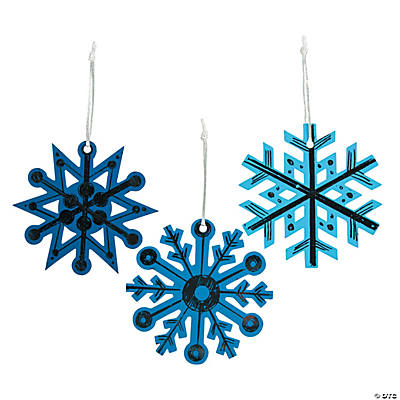 Blue Magic Color Scratch Snowflake Christmas Ornaments