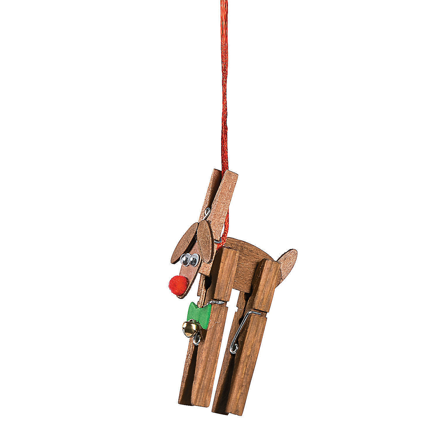 Reindeer clothespin christmas ornament craft kit for Close pin crafts