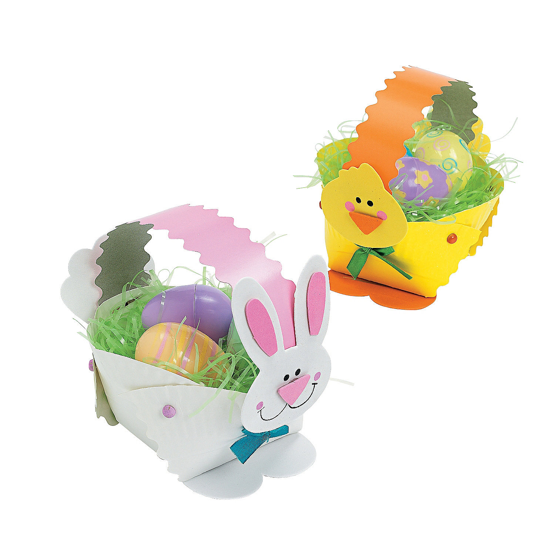 Paper plate bunny chick easter basket craft kit