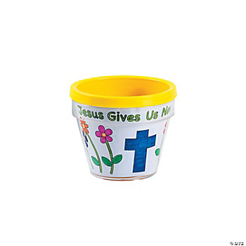 "Color Your Own ""Jesus Gives Us New Life"" Flowerpots"