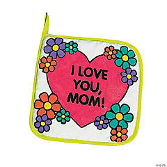 "Color Your Own Canvas ""Mom"" Pot Holders"