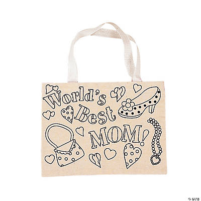 "Canvas Color Your Own ""Mom"" Tote Bags"
